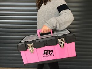 Image is loading Women-039-s-Tool-Box-Metal-Pink-Heavy- ff062c4ea