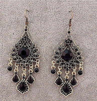 New Vintage Fashion Teardrop Rhinestone Chandelier Dangle Pierced Earrings