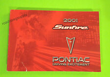2001 Pontiac Sunfire Owners Manual Owner's Guide Book SE GT