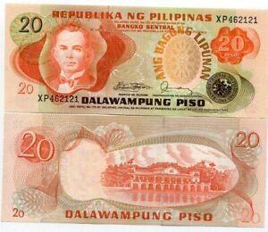 PHILIPPINES 20 PESOS PISO 1978 P 162 c SIGN 10 UNC