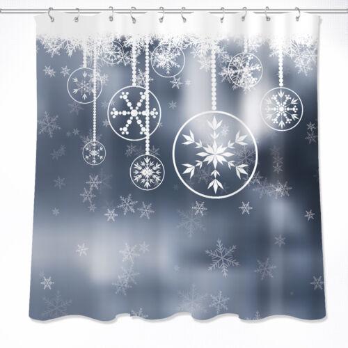 1.8x1.8M Merry Christmas Snowflake Waterproof Fabric Decor Shower Curtain Hooks