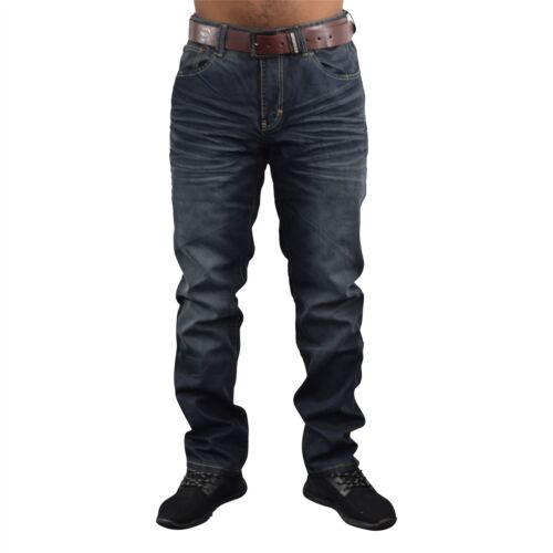 Jeans da Uomo Crosshatch Dritti Fit Vintage Con Cintura Denim Pantaloni NUOVO Farrow
