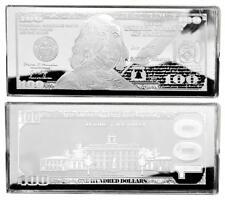 "2020  PROOF 4oz CURRENCY UNC SILVER BAR FRANKLIN $100 ~ HUGE 2.5"" x 6"" .999"
