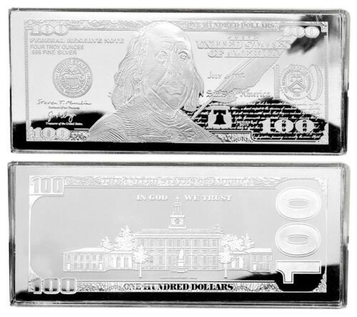 """2019 DATED PROOF 4oz CURRENCY UNC SILVER BAR FRANKLIN $100 ~ HUGE 2.5/"""" x 6/"""" .999"""