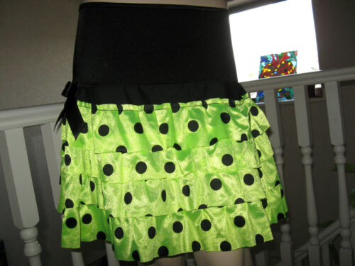 New Black neon Yellow spotted RaRa tiered Skirt Cyber Punk Party Dance Festival