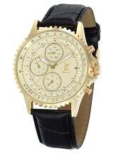 Mens Multifunction Gold Watch Black Leather Strap Day Date Reloj Pulsera Cheap