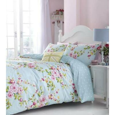 Catherine Lansfield Canterbury Multi Blue Floral Cotton Rich Duvet/Bedding Set