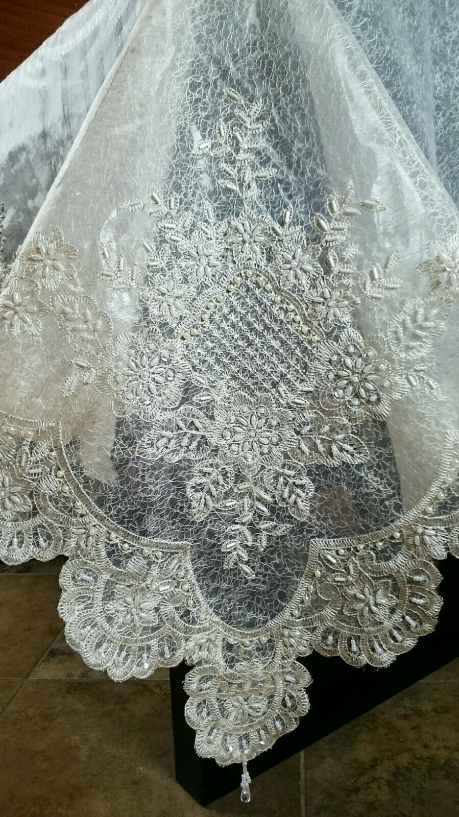 72x90  Embroidery Handmade Beaded Pearl Embroiderouge Sheer Tablecloth 2 Layers