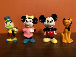 Lot-of-4-Disney-Japan-Figurines-Mickey-Minnie-Mouse-Pluto-Jiminy-Cricket-Vintage