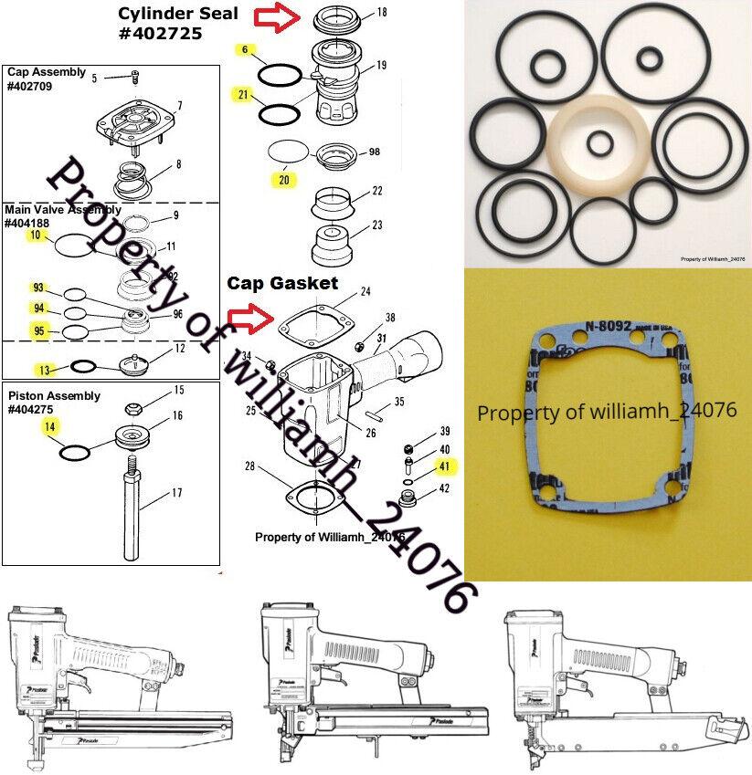 304700 404370 williamh_24076 Paslode 3250 F16 Finish Nailer O ring + Cyl Seal Part 402725 Kit + Cap Gasket
