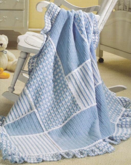 Crochet Pattern Baby Blanket Blue Textured Patches