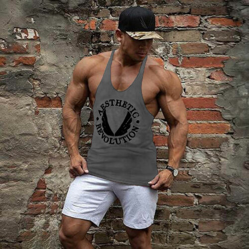 Canotta Uomo Ginnastica Muscolare Senza Maniche Bodybuilding Sportiva Fitness
