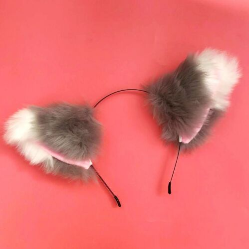 Extra Fluffy Cosplay Cat Ear Headband Large 2 Colour Furry Fox Ears Con Costume
