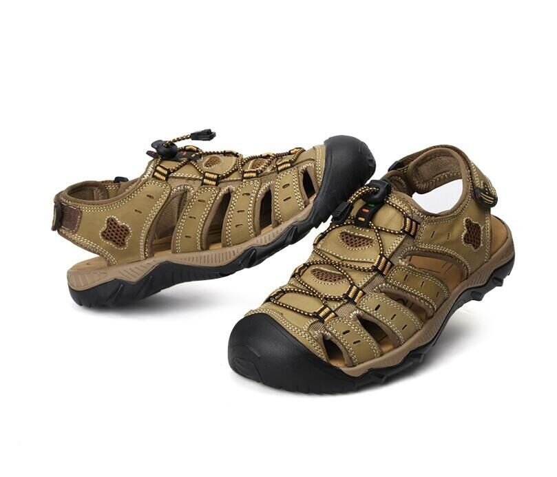 Men Casual Sport Leather Fisherman Beach Sandal Outdoor Closed Toe New shoes