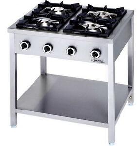 Cucina Professionale a Gas 4 Fuochi Linea 90 Su Gambe KW 24 cm 90 x ...