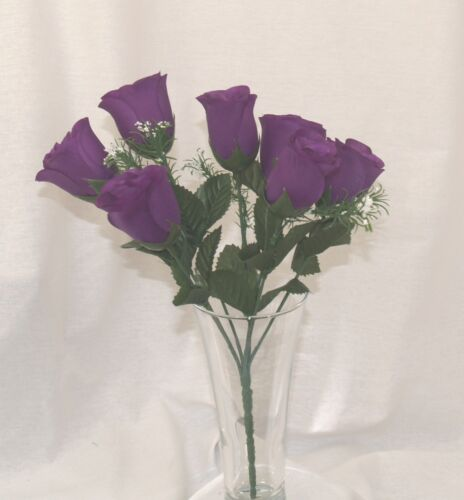 2 x Bunches of Purple closed cup Roses with Gyp 14 flowers