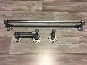 Image Is Loading Galvanized Pipe Bathroom Set Industrial Towel Rack