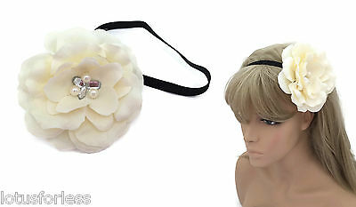 Large Pale Pink Flower Browband Bandeau Kylie Hair Band with Rhinestones Pearls