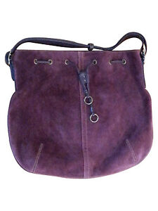 Image Is Loading Coach Purse Bag Rich Dark Purple Suede Leather
