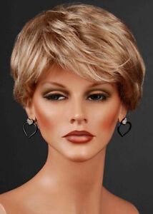 Ladies-Short-Blonde-Wig-2-Tone-Platinum-amp-Ash-Blonde-Mix-With-FREE-WIG-CAP