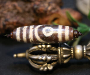 Magic Tibetan old Agate Cinnabar Double Heaven&earth totem dZi Bead
