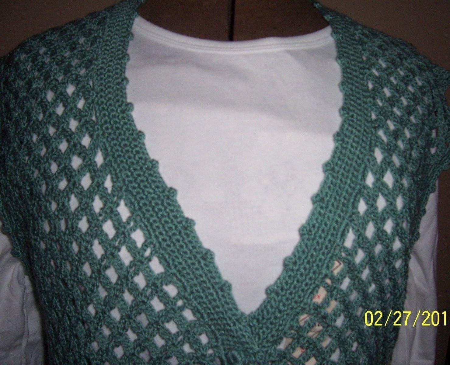 Crocheted Cotton Blend Ladies Ladies Ladies Vest Sweater   Seafoam Green, Size M-L a78079