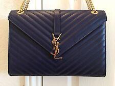 $2590 Authentic NWT YSL Saint Laurent Blue Leather Monogram Shoulder Bag