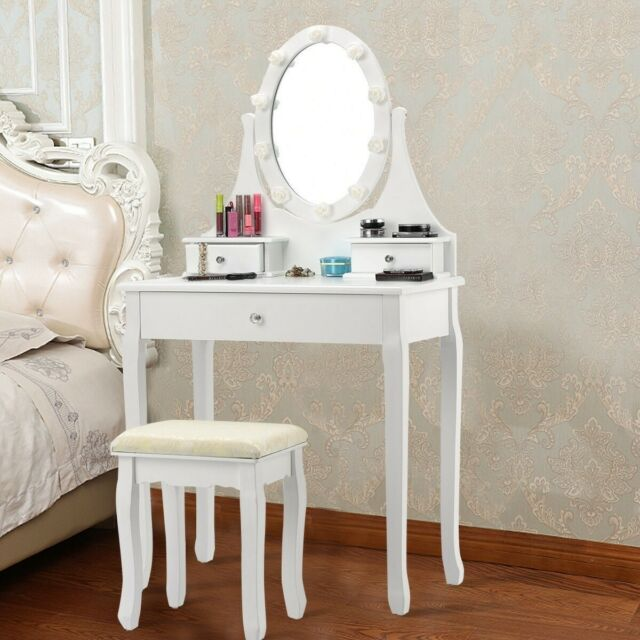 Pleasant 3 Drawers Led Light Vanity Makeup Dressing Table Stool Set With Rotating Mirror Pabps2019 Chair Design Images Pabps2019Com