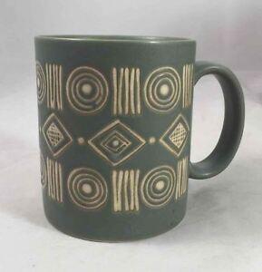 Pottery Barn BONGO Coffee Mug Green/Teal Aztec/Aboriginal Raised ...