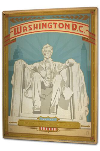 Tôle plaque xxl retro métropole washington D.C George washington trône