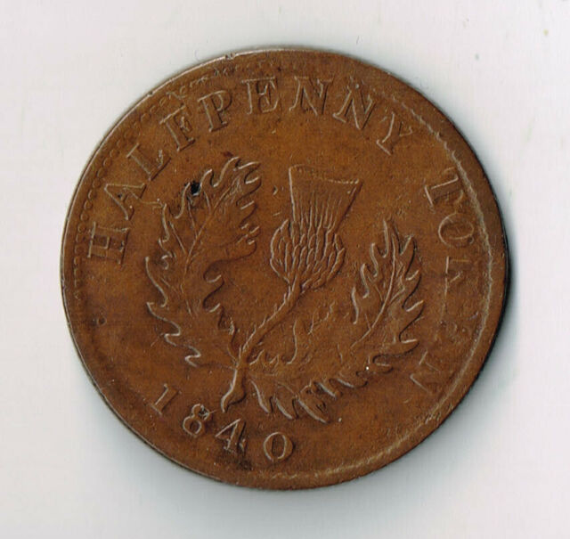 1840 PROVINCE OF NOVA SCOTIA HALF PENNY TOKEN - NS1E4 'SMALL 0'