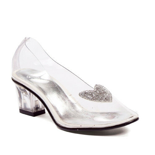 236638fce058 201-ariel 2 Heel Clear With Silver Glitter Heart SLIPPER Childrens by Ellie  Shoes for sale online