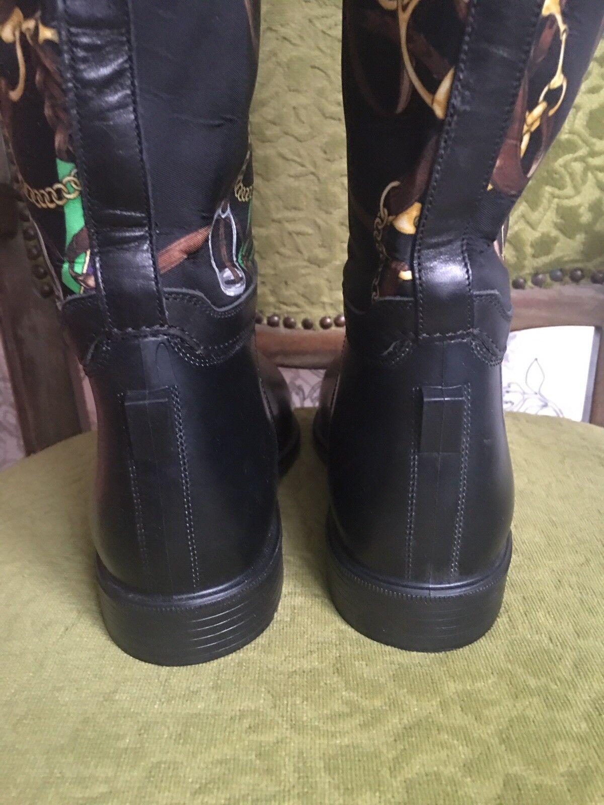 RALPH LAUREN LAUREN LAUREN damen Riding Rubber Leather Nylon  Stiefel sz 7 B -7,5 Mint 6b2347