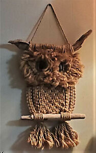 Vintage Macrame Hanging Owl~Boho~Antique~Mid Century Modern~Wall Decor~1960s-70s