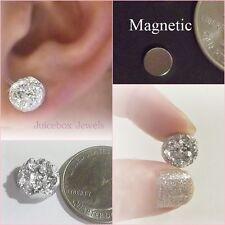 MAGNETIC Silver Faux Druzy, Non Pierced 12mm Stud Trendy No Holes Earrings #M171