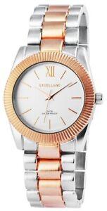 Excellanc-Damen-Armbanduhr-Rose-36-mm-Bicolor-Edelstahl-Faltschliesse-Armband-Uhr