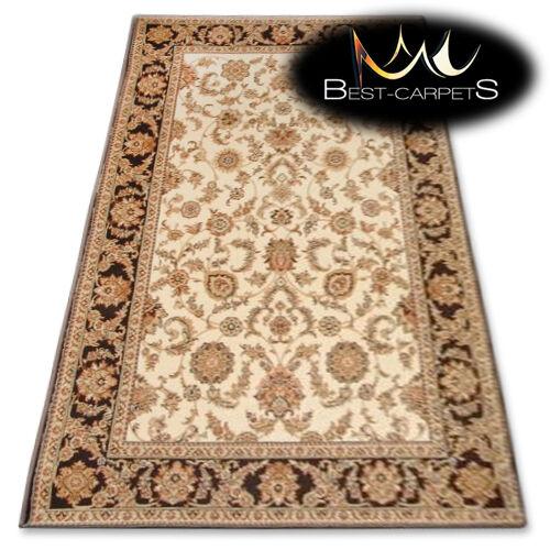 Lana Natural Alfombra Agnella Flores Crema  Isfahán  de espesor y durable alfombra
