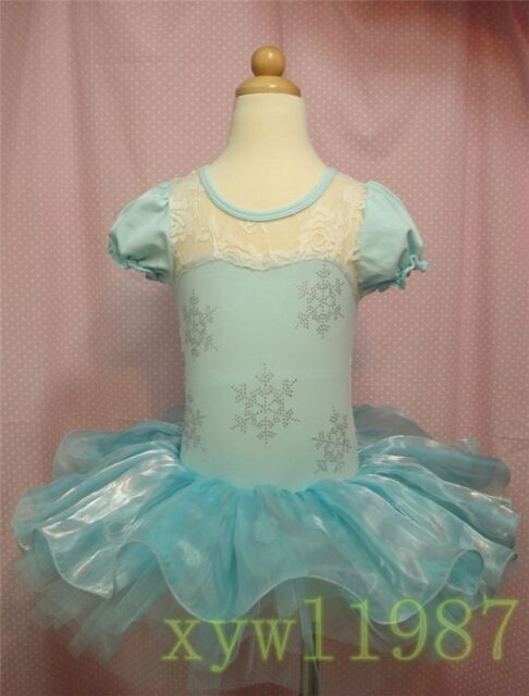 Hot Girls Snow Sisters Ballet Tutu Dance Party Dress 2-8Y Kids Leotard Skirt