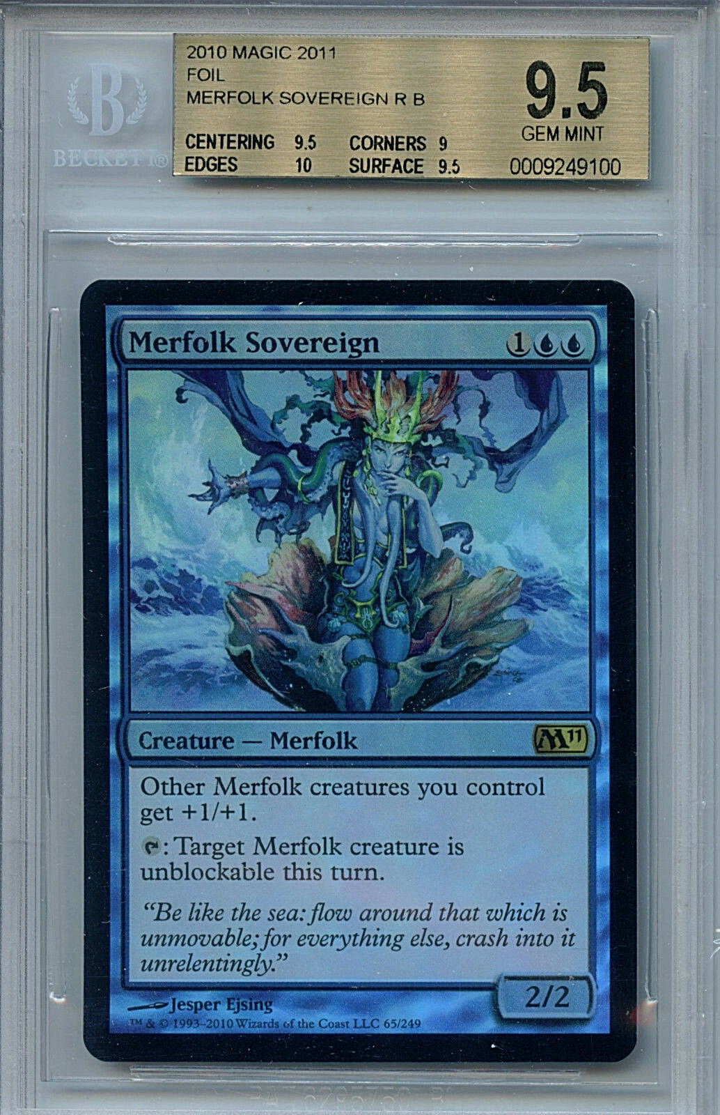 MTG Merfolk Sovereign BGS 9.5 Gem Mint Magic 2011 Foil Magic Card Amricons 9100