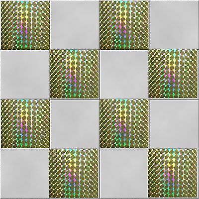 "15 x 15cms - Metallic Finish MOSAIC TILE STICKERS 6 x 6/"" Glossy Holographic"
