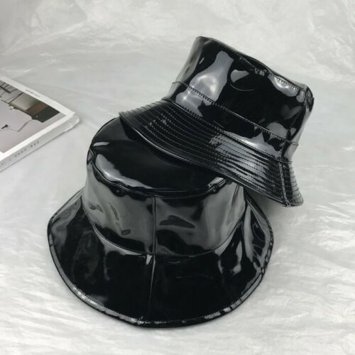 Femmes Hommes noir PVC Chapeau de pêche Bush Chapeau En Cuir Synthétique Plage Fashion New