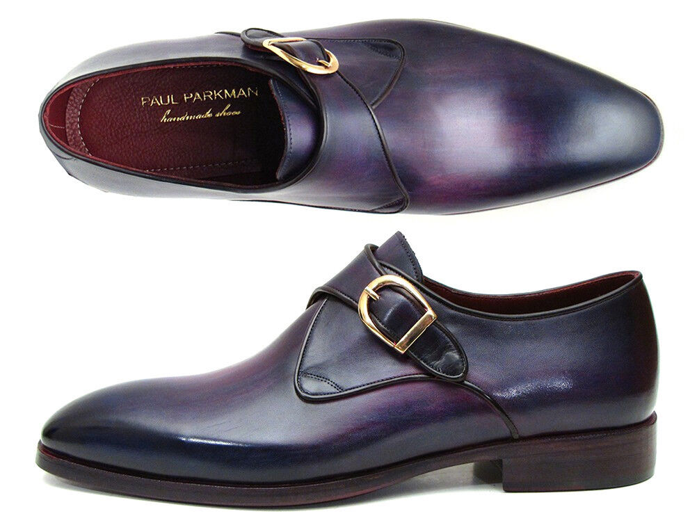 Paul Parkman SINGOLO Monkstrap Scarpe in Pelle Viola (ID DW754T) | The Queen Of Quality