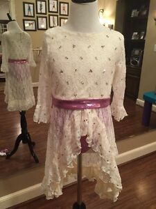 Lyrical Contemporary Jazz Dance Costume Cream Purple Lace Child Size Large