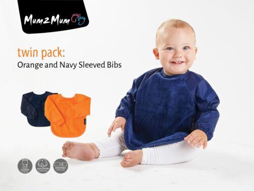 Maman 2 maman large à manches Wonder Bib x 2 bleu marine /& orange Conditionnement multiple Combinaison