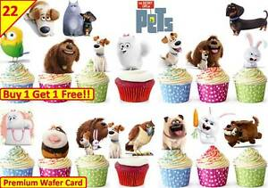 Details about 44 SECRET LIFE OF PETS Birthday Cup Cake Edible Toppers STAND UP Decorations