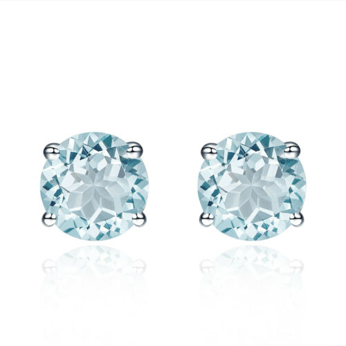 Round 5mm Natural Aquamarine Stud Earrings Solid 925 Sterling Silver Gemstone