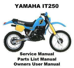 Yamaha It250 Owners Workshop Service Repair Parts List Manual Pdf Files It 250 Ebay