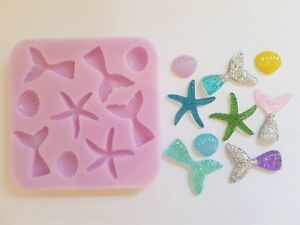SEASHELLS-amp-MERMAID-TAILS-SILICONE-MOULD-FOR-CAKE-TOPPERS-CHOCOLATES-CLAY-ETC