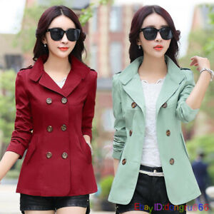 Women-039-s-Short-Slim-fit-jacket-Coat-trench-coat-trench-parka-Spring-Outwear