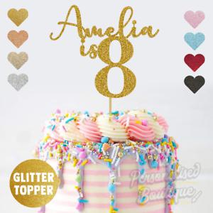 Astounding Personalised Custom Glitter Cake Topper Is Eighth 8Th Birthday Funny Birthday Cards Online Benoljebrpdamsfinfo